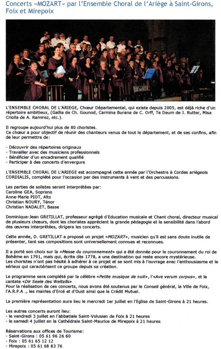 Concert Mozart - article Ariège News.